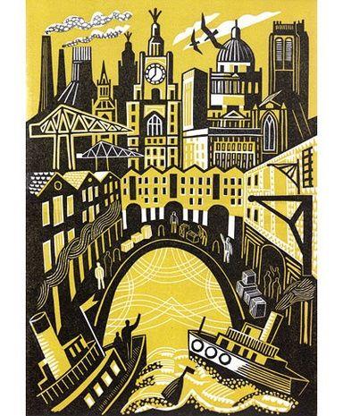 'Landing' by British artist Clare Curtis. Linocut, edition of 50, 26.5 x 19 cm. via Bircham Gallery