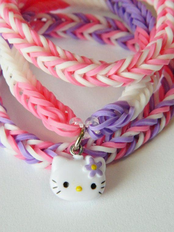 Hello Kitty Rainbow Loom Bracelet Trio