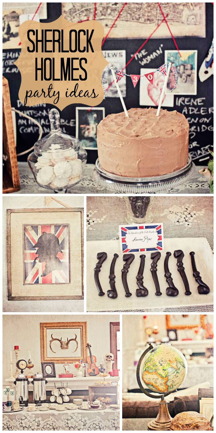 A murder mystery dinner party with Victorian costumes, a traditional British dinner, tea, and dessert!  See more party ideas at CatchMyParty.com!