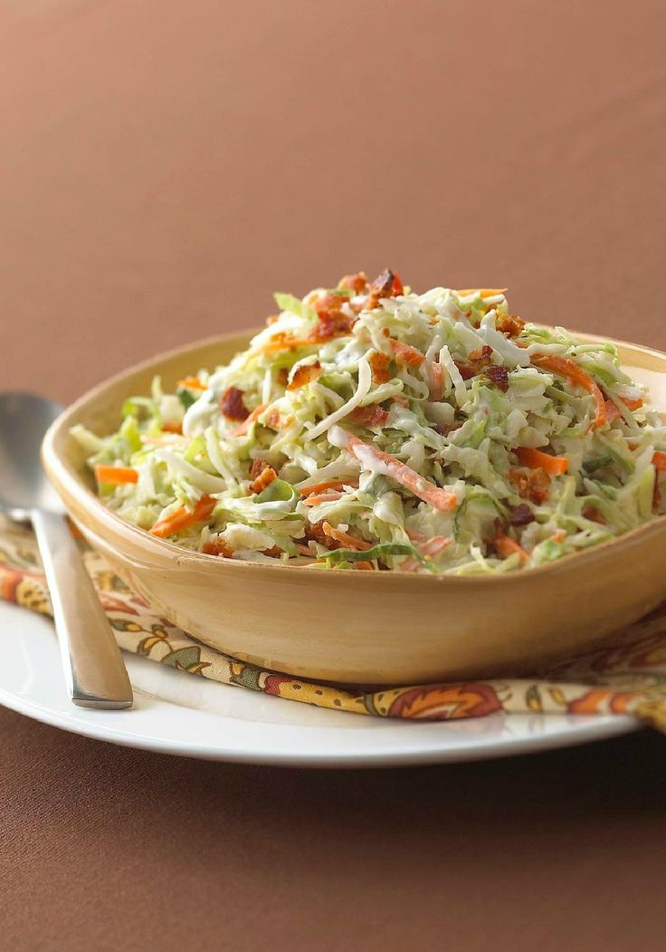 """Ranch-Style Coleslaw with Bacon – We have two words for you: """"Combine ingredients."""" That's the extent of the effort it takes to make Ranch-Style Coleslaw with Bacon. So quick, easy, and delicious!"""
