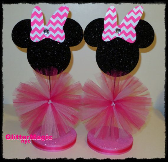 SET OF 2  Minnie Mouse Chevron Centerpieces / by GlitterMagic23s, $20.00