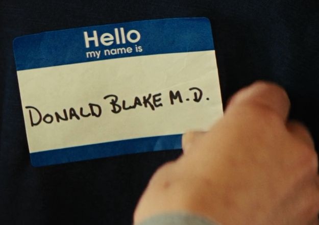 "Jane lends Thor a shirt left behind by an old boyfriend with a name tag on it that reads ""Donald Blake M.D."", which is Thor's human alter-ego"