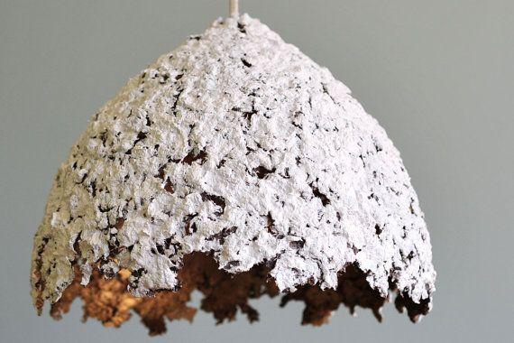 VENTE blanc et or papier pulpe lampe ombragent par DolcheTodolche