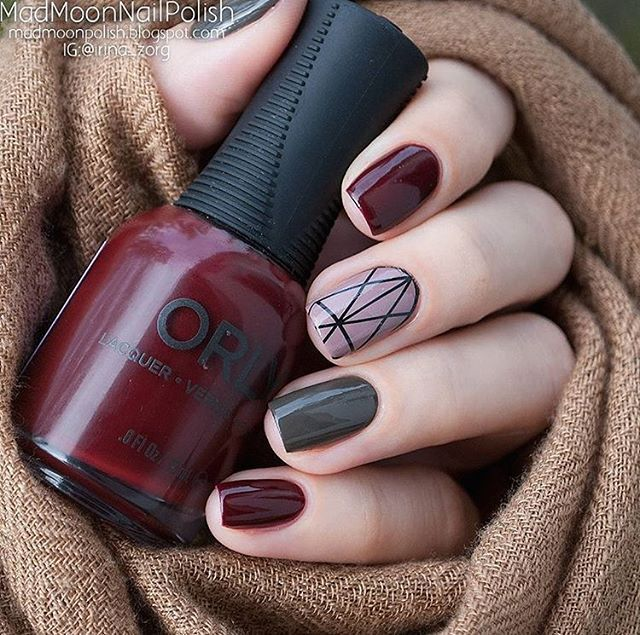 Minimal design nails in burgundy, dark grey and accent geometric nail - 27 Best Nail Images On Pinterest Make Up, Enamels And Fashion