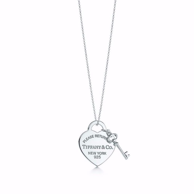 "Tiffany & Co. Please Return to Tiffany Heart Necklace with Key Med 16"" #TiffanyCo #Pendant"