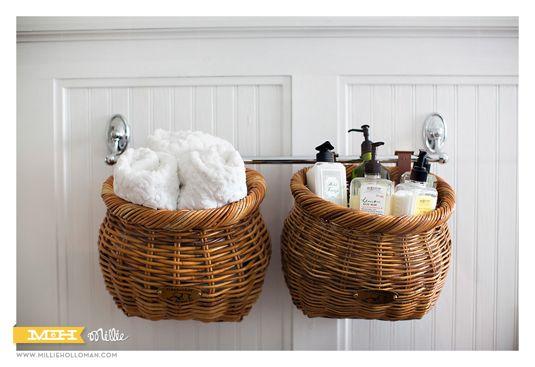 Bathroom supplies in baskets