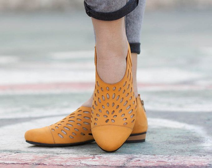 Leather Shoes, Leather Sandals, Women Sandals, Women Shoes, Summer Shoes, Yellow Shoes, Cutout Sandals, Free Shipping