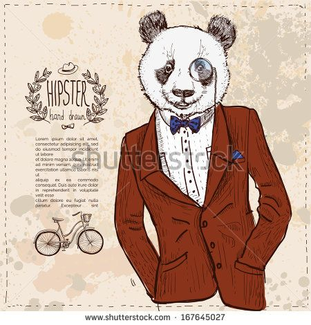 Hipster panda bear in suit, vector illustration hand drawn - stock vector