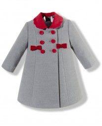 Abrigo para niña gris y rojo