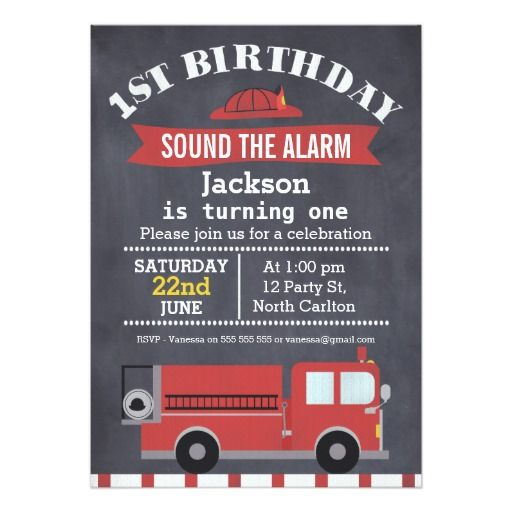 419 best Fire Truck Birthday Party Invitations images – Fire Truck Birthday Invitation