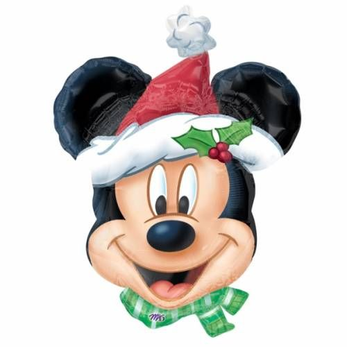 Folieballon Mickey Mouse met Kerstmuts