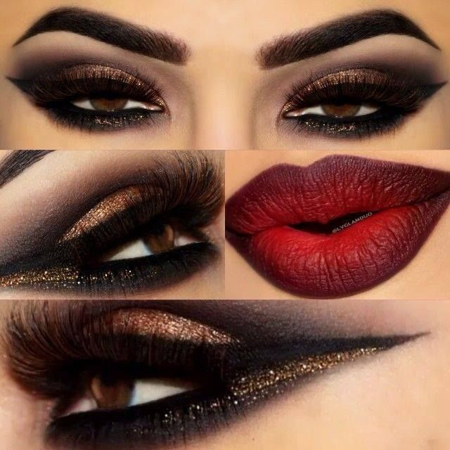 Gold and Black Glittery eye w/ Red and Black ombré Lip