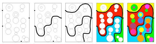 coloriage slalom      Sur chaque fiche, des formes géométriques de différentes tailles.     Sur le cadre de la page, des petits signes. Chaque signe est en double.     Consigne 1 : partir d'un petit signe et tracer une ligne jusqu'au signe identique en évitant les formes géométriques     Consignes 2 : Colorier les espaces créés par les lignes tracées     Consigne 3 : Colorier les formes