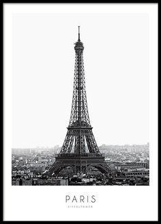 Stilvolles Poster mit Fotografie des Eiffelturms in Paris. Tolles und modernes Plakat mit Fotokunst, das wunderschön in einen schwarzen Rahmen passt….