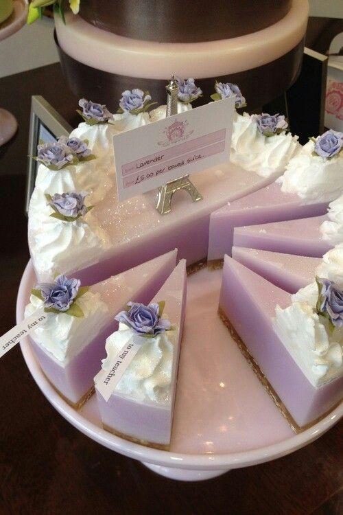 Purple soap cake - gorgeous wedding favors! www.weddingscentsperfumes.co.uk