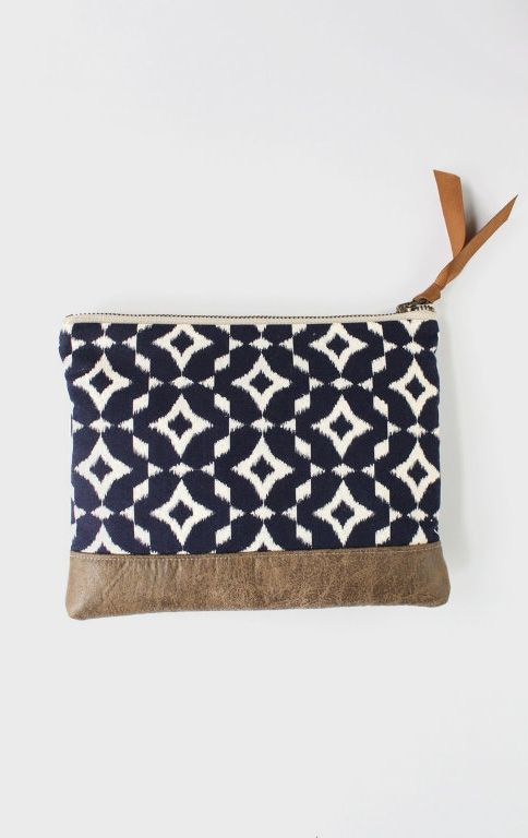Navy Ikat Clutch with Brown Faux Leather Trim