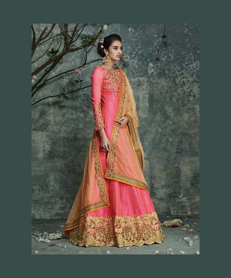 Pink Silk Floor Length Anarkali Suit 74612
