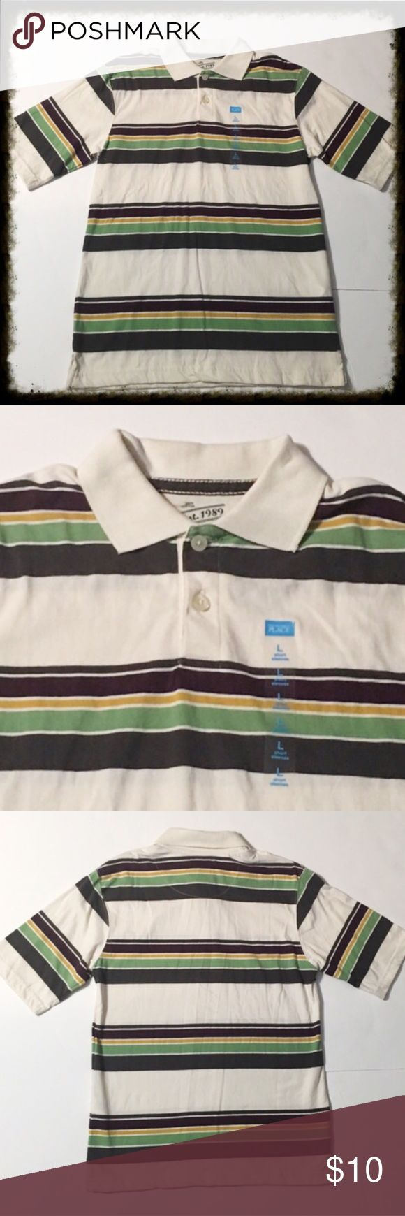 ❎3/$15 New Striped Polo Shirt Size large10/12 NWT Children's Place Striped Polo Shirt. New with tags. Size large 10/12. 🐶Bundle 3 $10 items for $15. Add them to a bundle, offer $15, & I will accept. 🐶 Shirts & Tops Polos