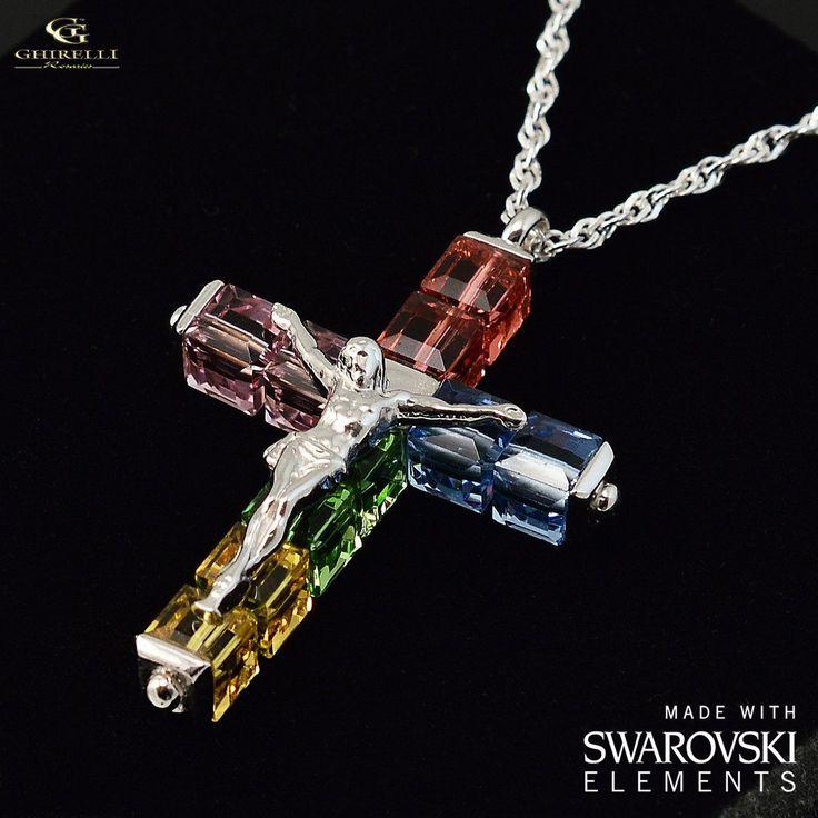 Swarovski (r) Crystal & Sterling Silver Ghirelli Cross Pendant, rhodium plated finish