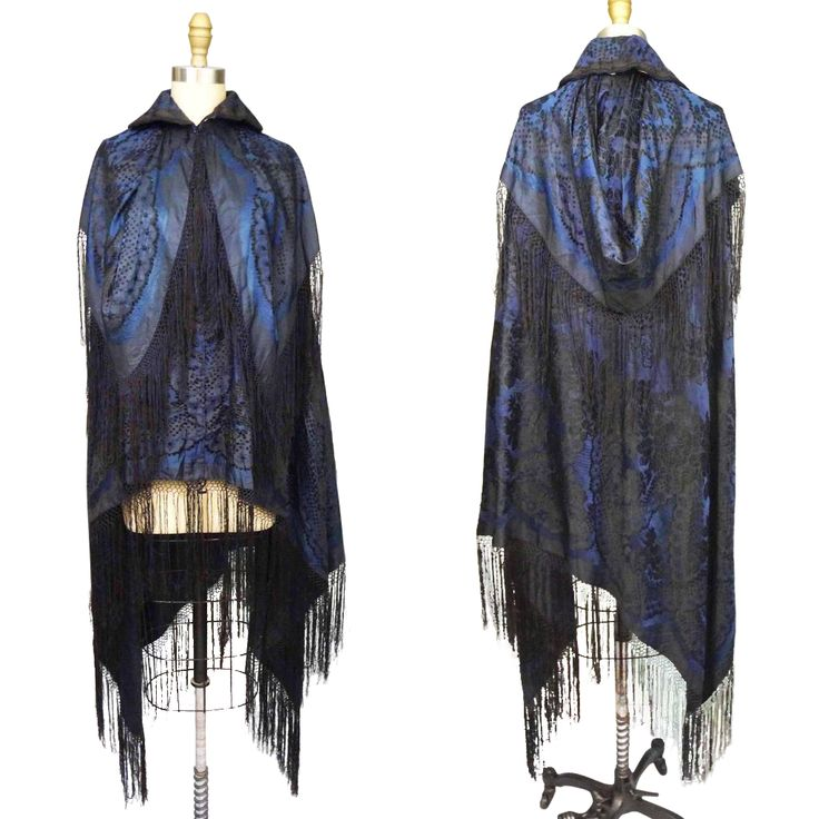 ca. 1900 Blue Silk Brocade Cape with Fringe offered by Noble Savage Vintage a Ruby Lane Shop