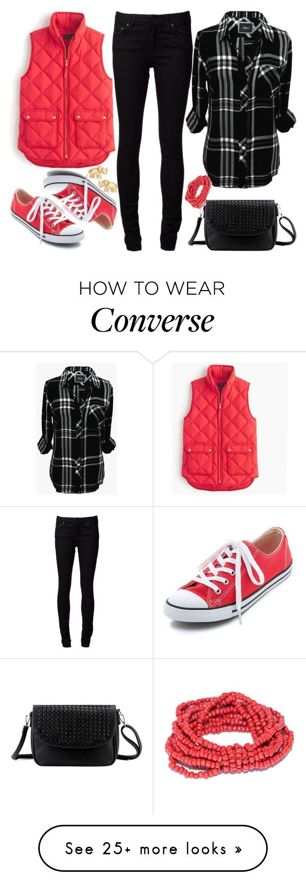 """Untitled #2678"" by emmafazekas on Polyvore featuring moda, Naked & Famous, Rails, J.Crew, Converse e Kate Spade"