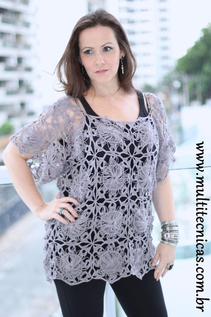 Blusa em crochê de grampo p/1 Helen Mareth