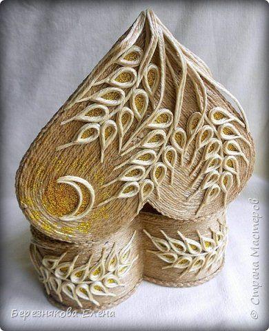 Приветствую всех-всех-всех)))А у меня очередная «сердечная» шкатулочка.Но в этот раз с колосьями пшеницы. Ну,что ж,начнём просмотр?  фото 6