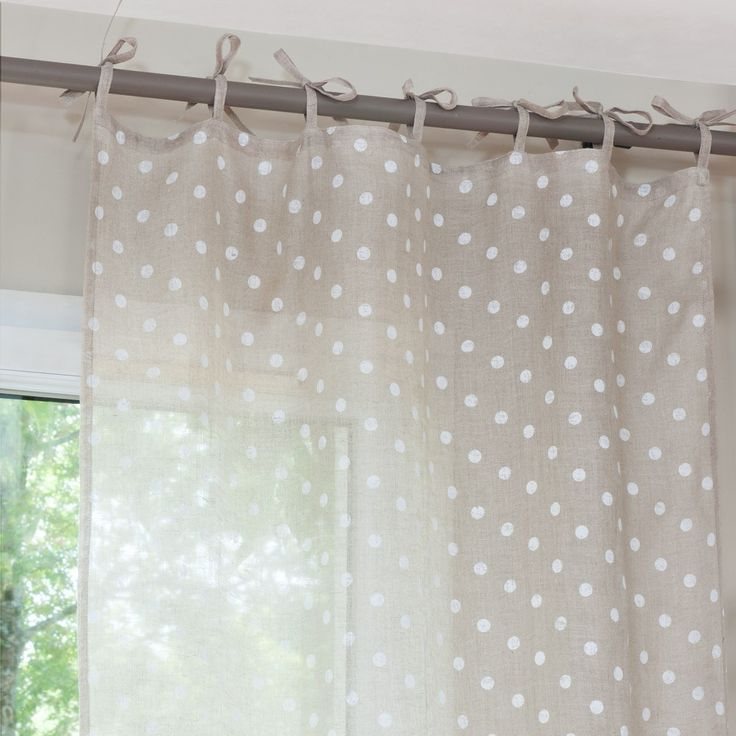 Tenda in lino a pois beige