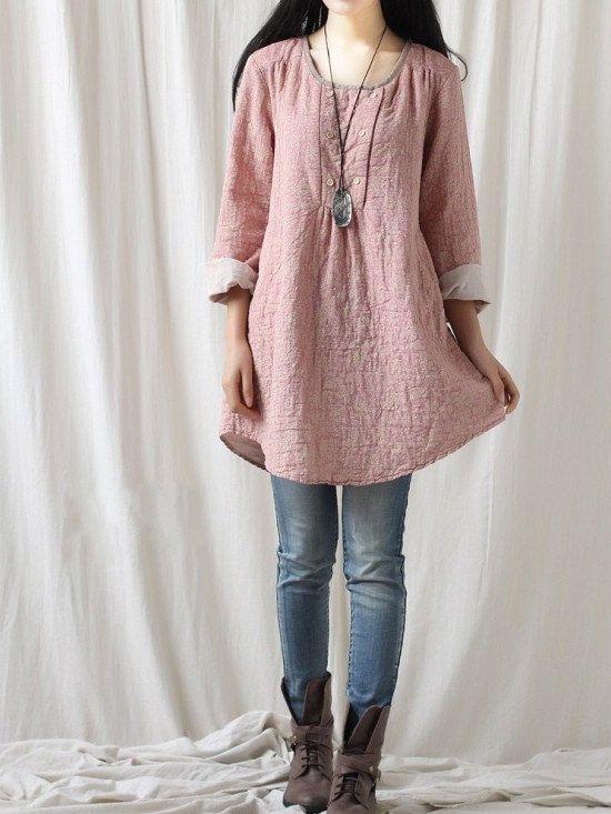 Literary fresh doll shirt/  women small floral cotton by MaLieb, $79.00