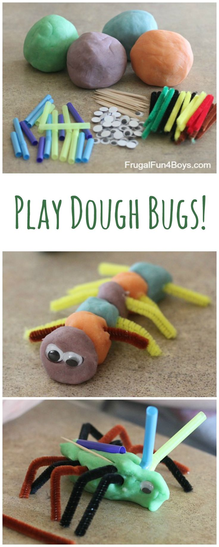 Play Dough Bugs - Make several colors of play dough and put out some loose parts for building bugs.