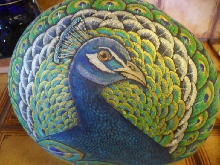 Peacock Rock OOAK Hand Painted Sculpture. $250.00, via Etsy.