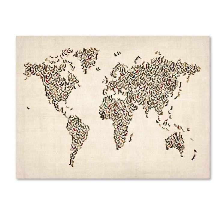 Michael Tompsett 'Ladies Shoes World Map' Art