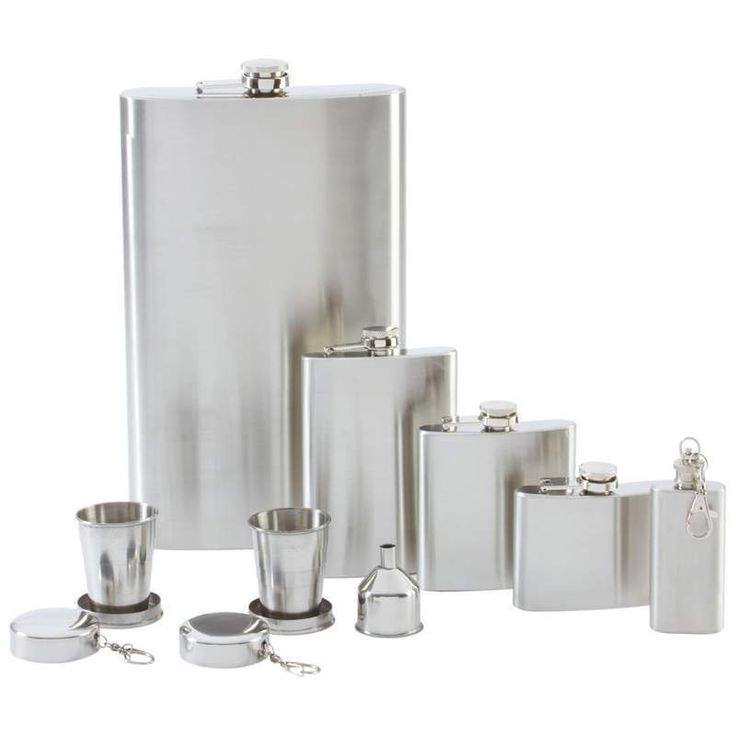 Stainless Steel 8 Piece Flasks Gift Set Liquor shots silhouette Free Shipping #maxam