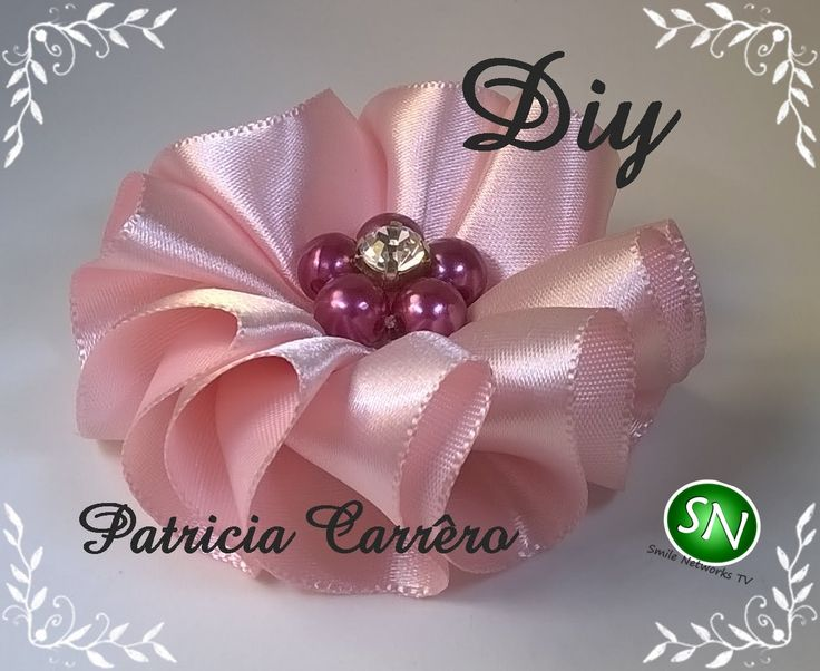Flor de fita ondas Diy  Ribbon flower waves Diy