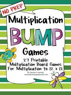 Multiplication Bump Games - NO PREP math games for multiplication