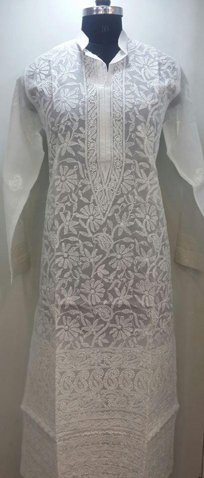 Lucknowi Chikankari Online Long Kurti white on white cotton with very fine murri, shadow, kangan & applique (daraz) work with designer daaman $48