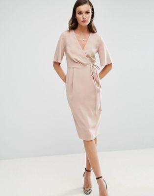 Платье миди с запахом на лифе и завязкой на поясе ASOS
