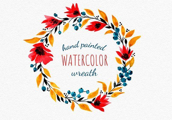 Watercolor Wreath With Blueberries Clipart Bright Wreath Png Etsy In 2021 Wreath Watercolor Floral Wreaths Illustration Flower Clipart