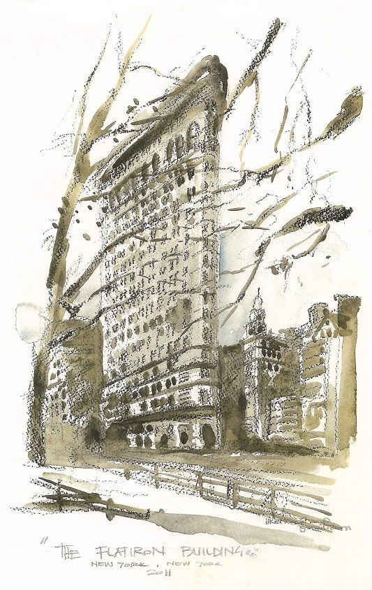 New York ,Flatiron Building,  an architectural sketch in watercolor print. $42.00, via Etsy.