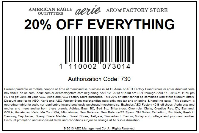 Pinned April 12th: 20% off everything at American Eagle Outfitters, Aerie also factory stores, or online via promo code 68746301 coupon via The Coupons App