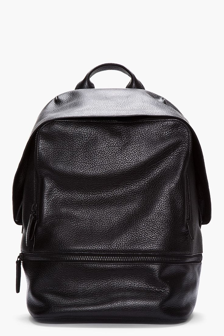 3.1 PHILLIP LIM Black Leather 31 Hour Backpack. Men's Fall/Winter Street Style Fashion.