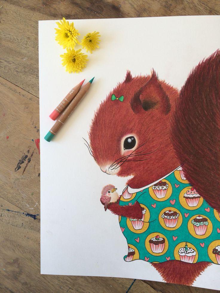 Moli het illeke eekhoorntje The illeke squirell #illeke #illustratie #illustration #squirell #eekhoorn #kids #kidsroom #handgetekend #handmade www.illeke.nl