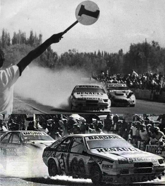 Juan María Traverso le gana sobre la raya a Silvio Oltra con su coche en llamas. TC2000. 1988