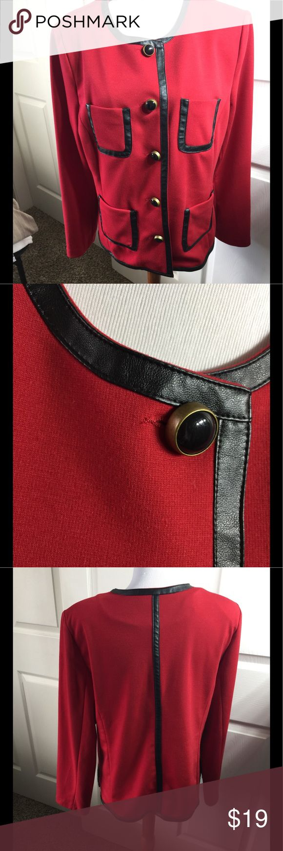 Joan Rivers Red Blazer Jacket M Cute blazer with Faux Leather trim lovely  Size M  Bust 42