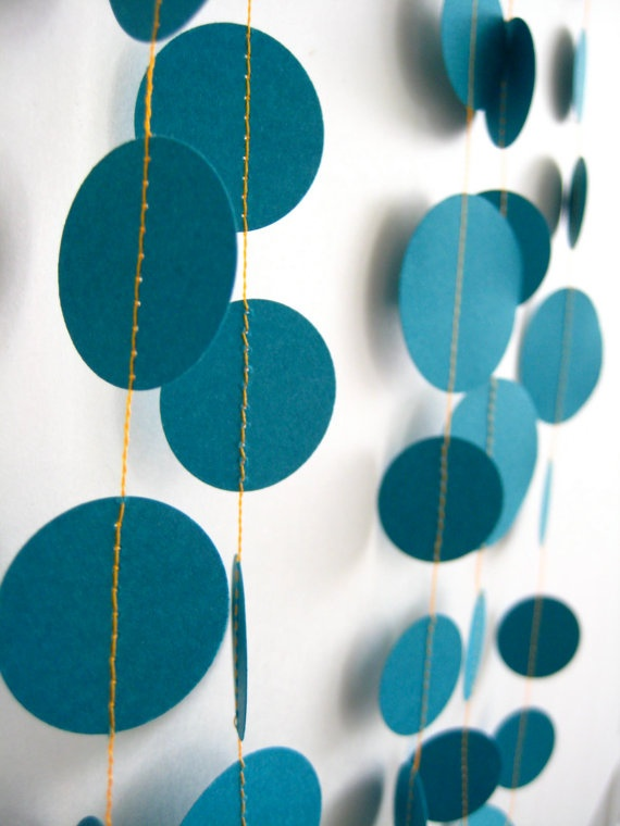 turquoise party garland with orange thread detail