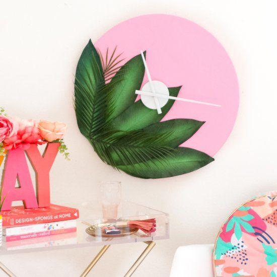 Plants on pink wall clock DIY!