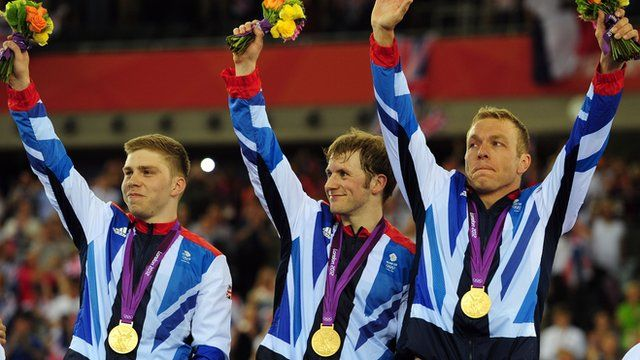 GOLD!!!!  Sir Chris Hoy leads Team GB to cycling gold in men's team sprint - London 2012 Olympics