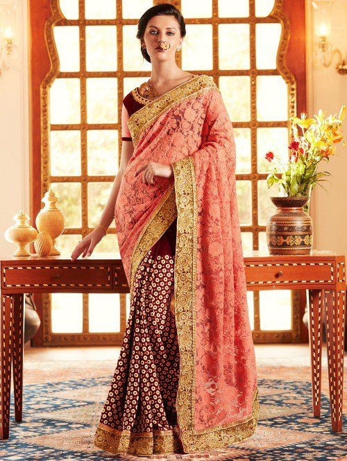 Peach and Maroon Net Saree with Zari Work