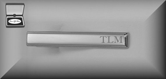 Personalized Tie Clip, Silver Tie Clip Engraved Free, Custom Tie Clip, Engraved Tie Bar, Personalized Wedding Gifts, Buy 6, Get 7th Free