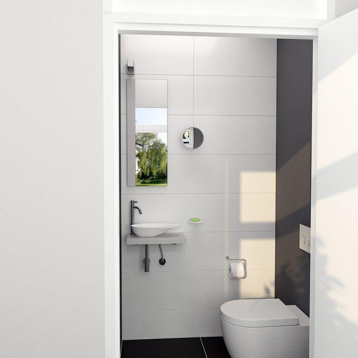 Clou - First toilet concept vooraanzicht. Deze toilet is een hangtoilet. De fonteinkom is gecombineerd met een plateau uit de First serie. De fonteinkraan uit de Freddo serie is verlengd. De spiegel is voorzien van een betonnen strip.